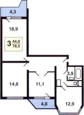 План схема 3 комнатной квартиры 917