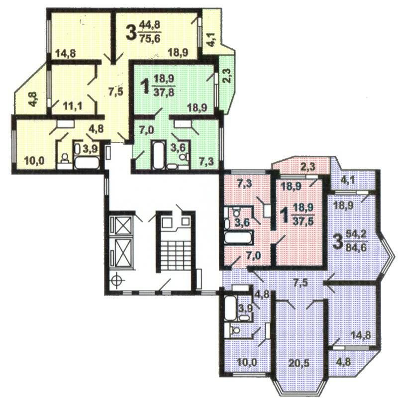 Угловая секция дома П 44 Т