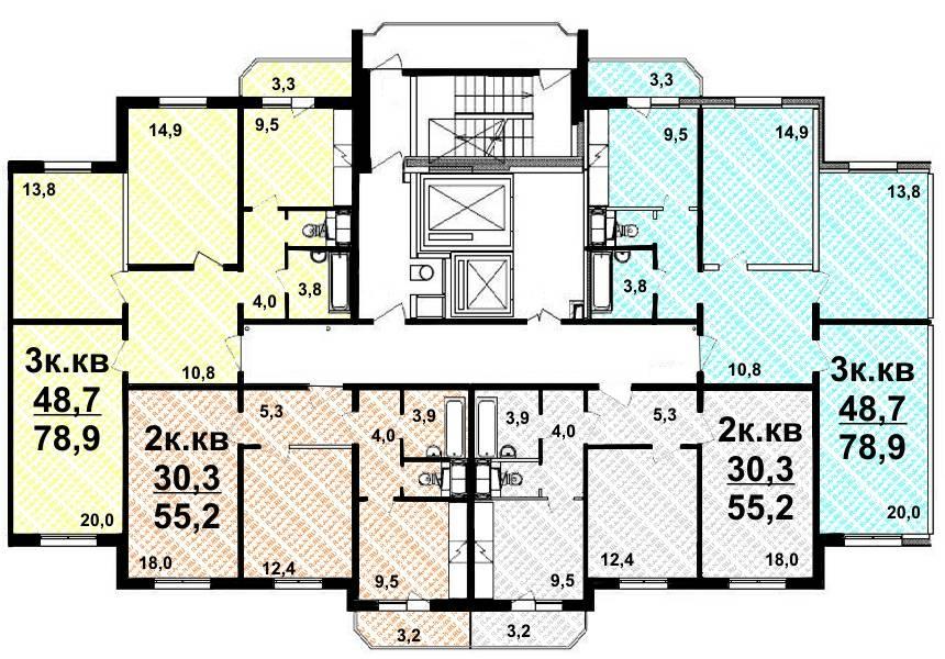Планировка 2-х и 3-х комнатных