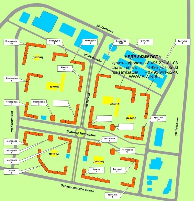 Карта мкр-на Авиаторов, схема