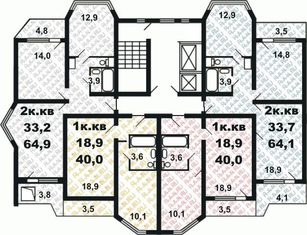 Планировка квартир серии п44к.