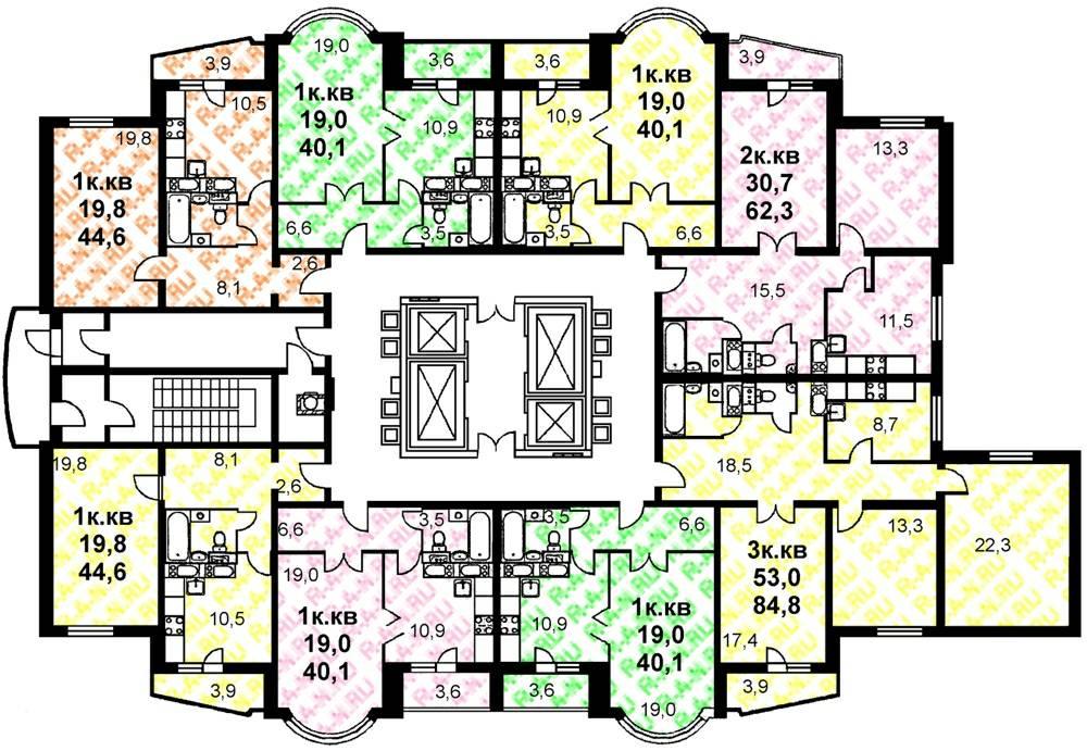 Планировка квартир в башне